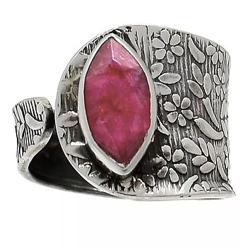 Ruby Sterling Silver Adjustable Floral Pattern Ring