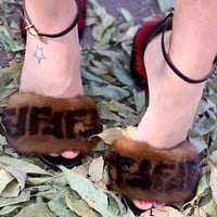 Fendi Maomao Fashion Leisure High-heeled Shoes