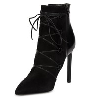 Saint Laurent Lace-Up Ankle Boot in Black Suede and Leather - Size 38