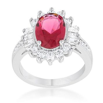 Chrisalee 3ct Fuchsia CZ Cluster Cocktail Ring   4.5ct