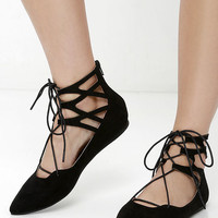 LULUS Giselle Black Suede Lace-Up Flats