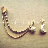 Gold Ear Cuff with Gold Star/Moon and a string of Beautiful Light Gold Crystals