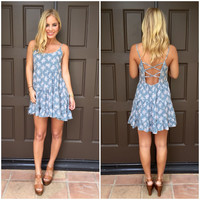 Baby Blue Floral Baby Doll Dress