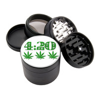 "3 Leaf Design - 2.25"" Premium Black Herb Grinder - Custom Designed"