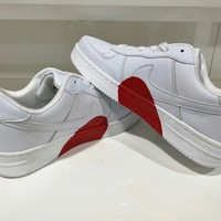 """""""Nike Air Force 1"""" Unisex Casual Fashion Love Heart Low Help Plate Shoes Couple Sneakers Small White Shoes"""
