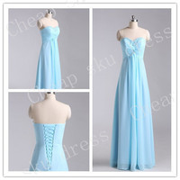 High Quality Long A-Line Sweetheart Chiffon Beads Lace-up Long Floor-length Sexy 2014 Bridesmaid /Party/Evening/Prom/Formal Dress Chiffon