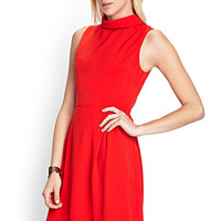 FOREVER 21 A-Line Funnel Neck Dress Red