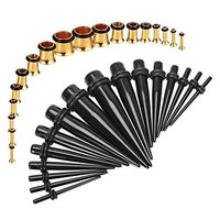 BodyJ4You Gauges Kit Black Tapers Gold Plugs Steel 14G-00G Stretching Set 36 Pieces
