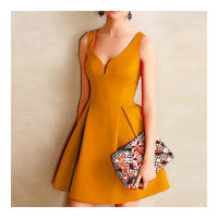 Solid Color Boob Tube Top A-line Skirt Sexy Backless Dress  yellow   S