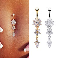 Sexy Dangle Belly Bars Belly Button Rings Belly Piercing CZ Crystal Flower Body Jewelry Navel Piercing Rings Drop Shipping