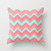 Chevron pattern light pink and blue Throw Pillow by Rex Lambo | Society6