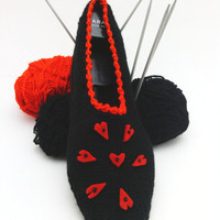 Black red ,Love slippers, Valentines day slippers with felt heart, home slippers, yoga, healthy,  Gift for valentines day, OOAK