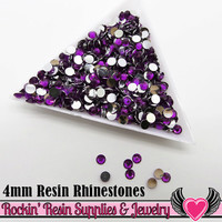 4mm 1000 pc Dark Purple Flatback Resin Rhinestones (RR17)