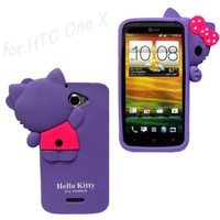 New 3D Hide-Seek Hello Kitty Cute lovely Soft Case Cover for HTC One X (AT&T) - Purple