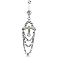 New Charming Dangle Crystal Navel Belly Ring Bling Barbell Button Ring Piercing Body Jewelry = 4804877316
