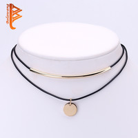 Boho Choker Gold Plated Coins Pendant Shell Choker Necklace Women Jewelry Black Velvet Leather Chockers Necklaces Collier Femme