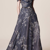Off the Shoulder Embroidered Gown | Moda Operandi
