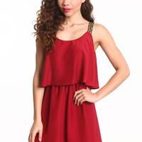 RED TRIBAL TIERED DRESS