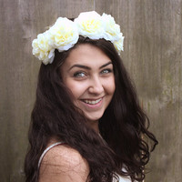 Ivory Rose Crown - Ivory Flower Crown, Bridal Flower Crown, Summer Festival Accessory, Floral Crown, Flower Hair Wreath, Spring