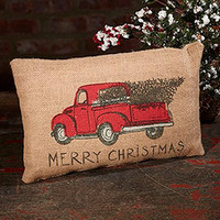 Red Truck Christmas Holiday Decor Vintage Burlap Accent Throw Pillow 12-in x 8-in
