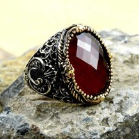 Red zirconia stone silver mens ring