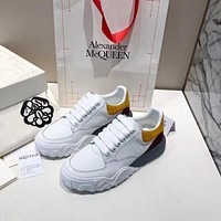 ALEXANDER MQUEEN  Men Fashion Boots fashionable Casual leather Breathable Sneakers Running Shoes