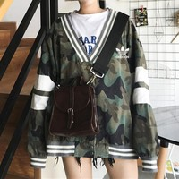 """Adidas"" Women Stripe Camouflage Print V-Neck Loose Long Sleeve Baseball Clothes Cardigan Coat"