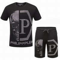 Philipp Plein Balck Fashion Short Two-piece Sports Suit