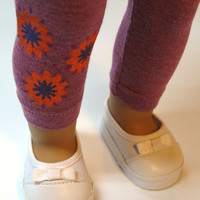 """Floral tunic with matching leggings and cute sneakers for American Girl and other 18"""" Dolls"""