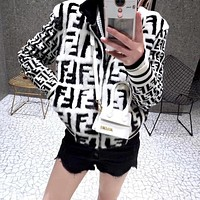 FENDI Classic Autumn Winter Popular Women Personality Mohair F Jacquard Half High Collar Zipper Cardigan Jacket Coat-1
