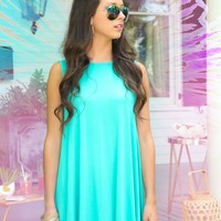 EVERLY:Swing My Way Dress-Seafoam