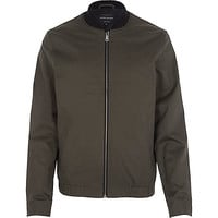 River Island MensGreen casual contrast neck bomber jacket