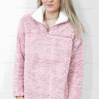 Day-First™ Cozy Up 2-Tone Sherpa Zipper Pullover {Blush}