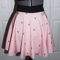 Pink Skulls Skater Skirt - Cute Pastel Goth - Custom Made to YOUR size - LAST ONE! - Handmade by Skellum Threads
