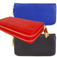 Solid Double Zip Wallet Clutch - Black, Cobalt Blue or Tomato Red