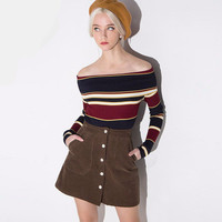 Fashion Autumn Women Knit Slim Off Shoulder Boat Neckline Sweatshirt a13293