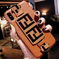Fendi Fashion New More Letter Print Women Men Protective Cover Phone Case