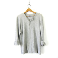 vintage light gray long sleeve long underwear top Thin grunge look button front shirt basic henley COED men's size 2XL