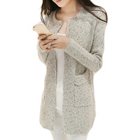 Casual Long Sleeve Knitted Crochet Cardigan