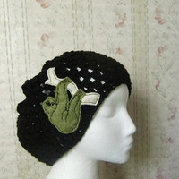 Black Beanie Slouchy Hat with Sloth Applique