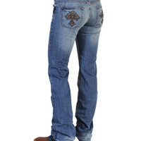 Cowgirl Tuff® Ladies' Studded Brown Cross Jeans