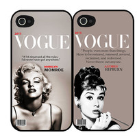 Vogue Marilyn Monroe & Audrey Hepburn iPhone 4, 4s or 5 Set of Two  Back Case Covers