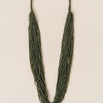 Cambria Seed Bead Strands Necklace in Olive