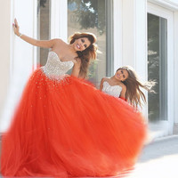 Vestidos De Baile Sexy prom Dresses 2016 New Sweetheart  Semicircle Pearls Tulle Princess Pegeant Special Occason Gowns