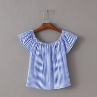 Stripes Off-The-Shoulder Ruffle Blouse