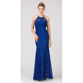 Mermaid Flair Skirt Lace Evening Gown Royal Blue Pearl Necklace