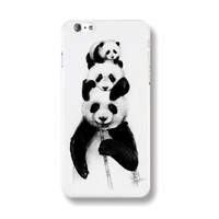 "Transparent Edge Fashion Beautiful Panda Art Painting Black & White Hard PC Mobile Phone Cover Case Shell For Apple iPhone 6 6s 4.7"" Inch"