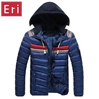 Winter Men Jacket Contrast Colors Autumn Jackets Coats Down Hooded Thick Clothing Male Casual Zipper Cotton Coat Overcoats X315