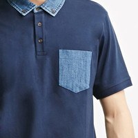 Denim-Trimmed Polo