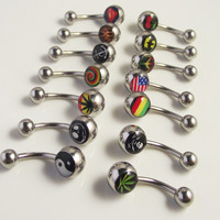 LOGO Printed  Peace Leaf Skull Cross Cherry Steel 14g Double  Belly Button Navel Rings Belly Piercing Body Jewelry New
